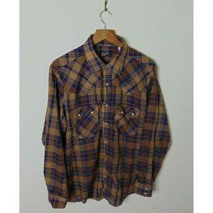 Vintage Levis M Pearl Snap Button Shirt Brown Blue
